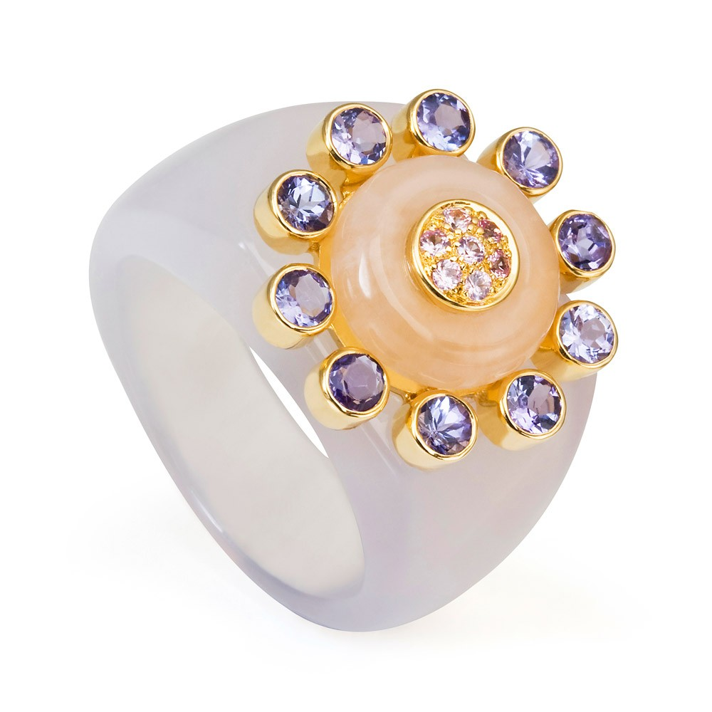 Princess Of The Woods Agate Ring – Tanzanite, Pale Pink Sapphires And Rose Quartz 18k Gold