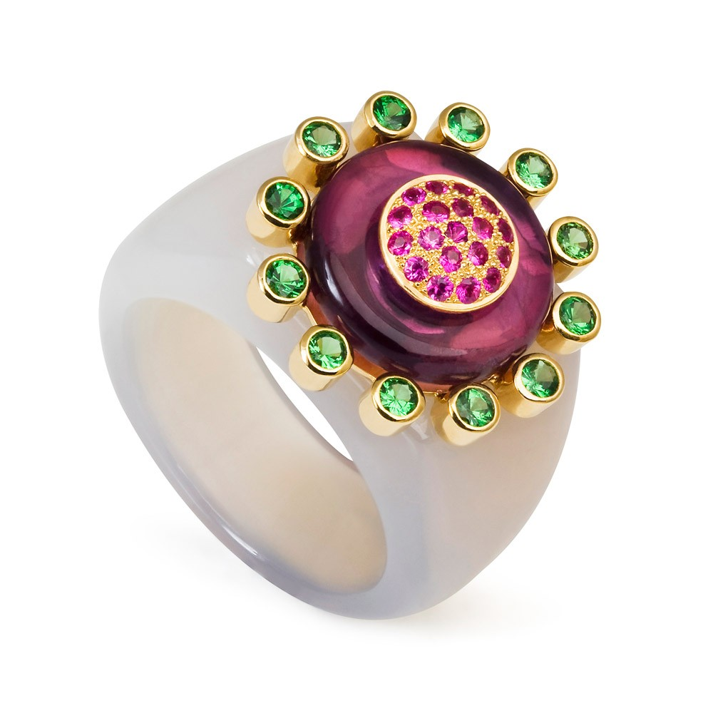Princess Of The Woods Agate Ring – Tsavorite Garnets, Hot Pink Sapphires And Amethyst 18k Gold