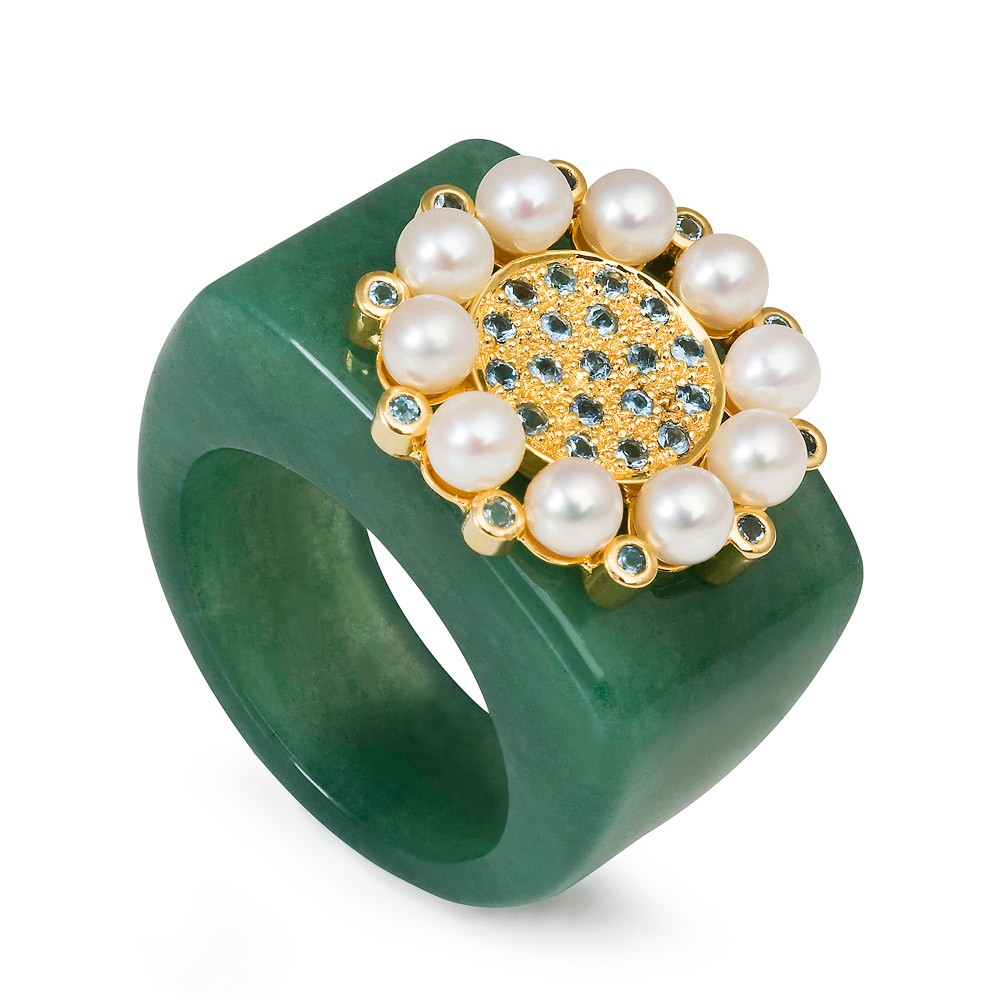 Princess Of The Woods Aventurine Quartz Ring – Aquamarines And Baby Pearls 18k Gold
