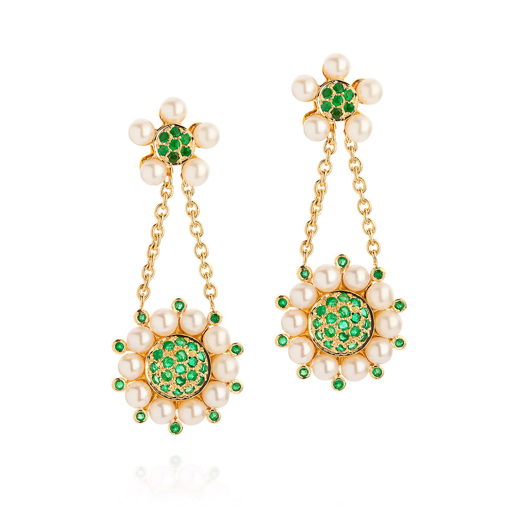Princess Of The Woods Earrings – Emeralds And Baby Pearls 18k Gold