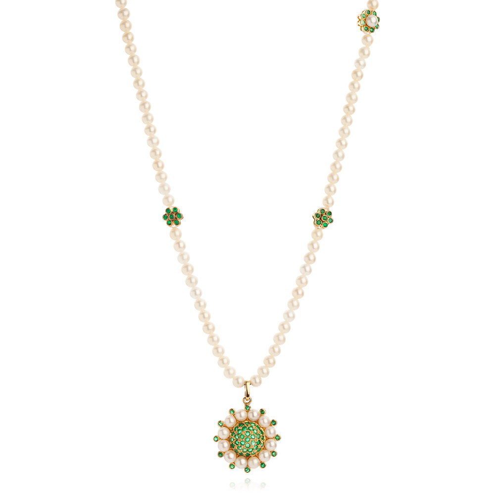 Princess Of The Woods Necklace – Emeralds And Baby Pearls 18k Gold