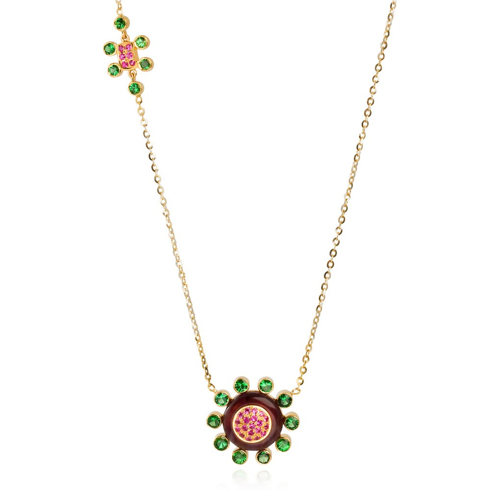Princess Of The Woods Necklace – Tsavorite Garnets, Hot Pink Sapphires And Amethyst 18k Gold