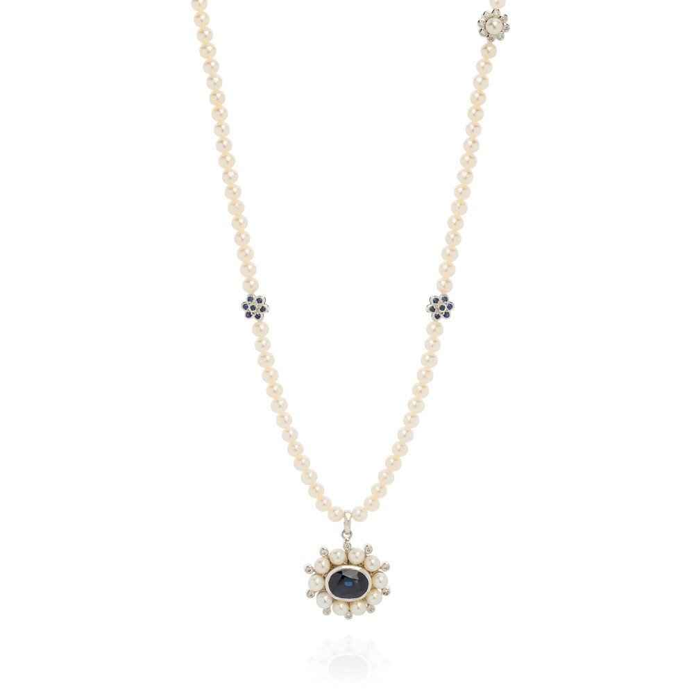 Princess Of The Woods Style Necklace – Blue Sapphires, Diamonds And Baby Pearls 18k White Gold