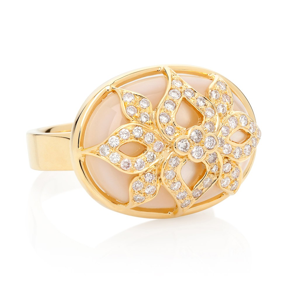 Shimmer Ring – Pink Diamonds And Mother-of-pearl 18k Gold