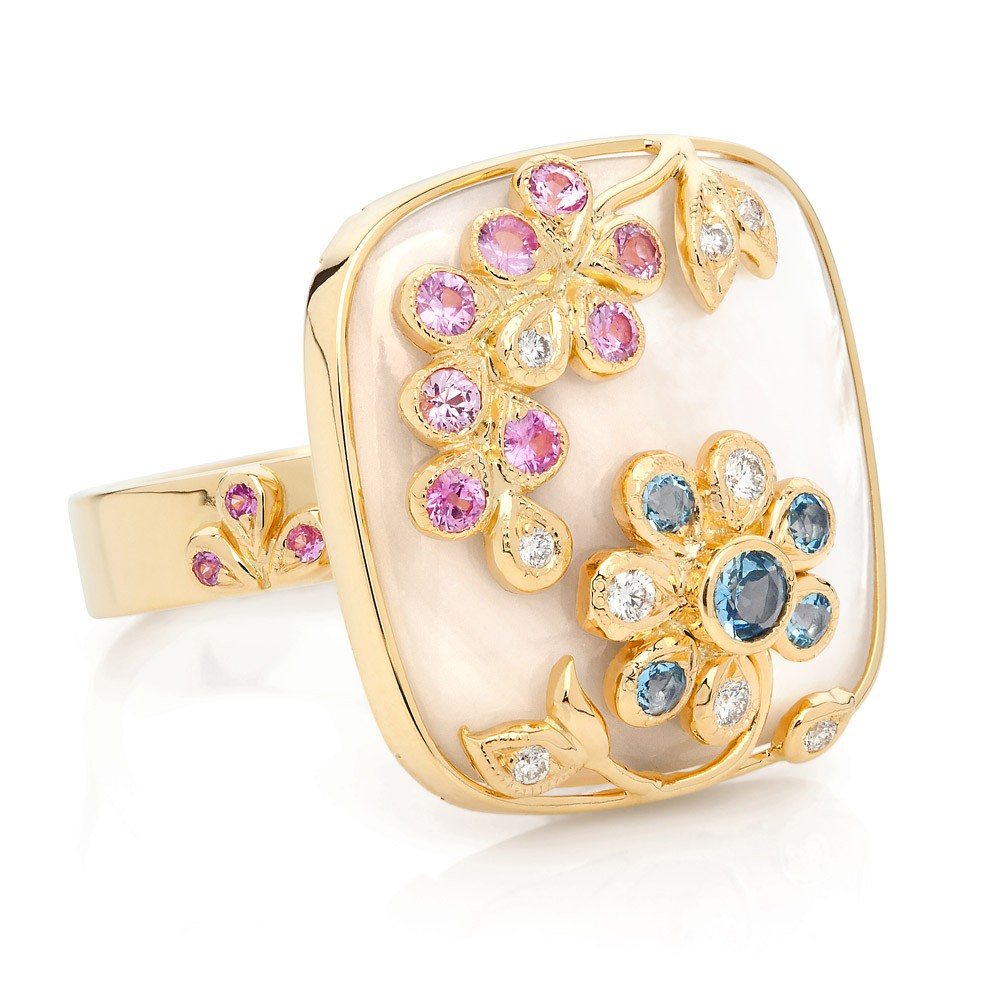 Shimmer Ring – Pink Sapphires, Aquamarines, Diamonds And Mother-of-pearl 18k Gold