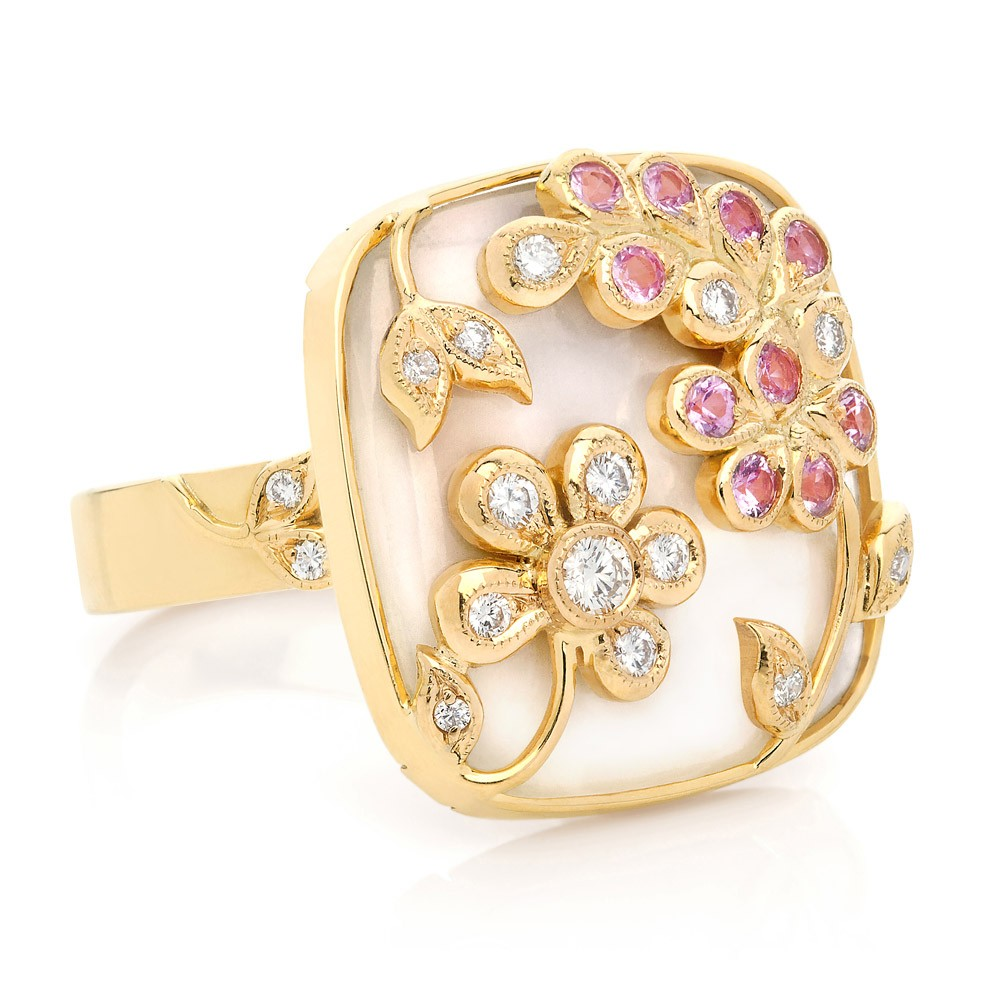 Shimmer Ring – Pink Sapphires, Diamonds And Mother-of-pearl 18k Gold