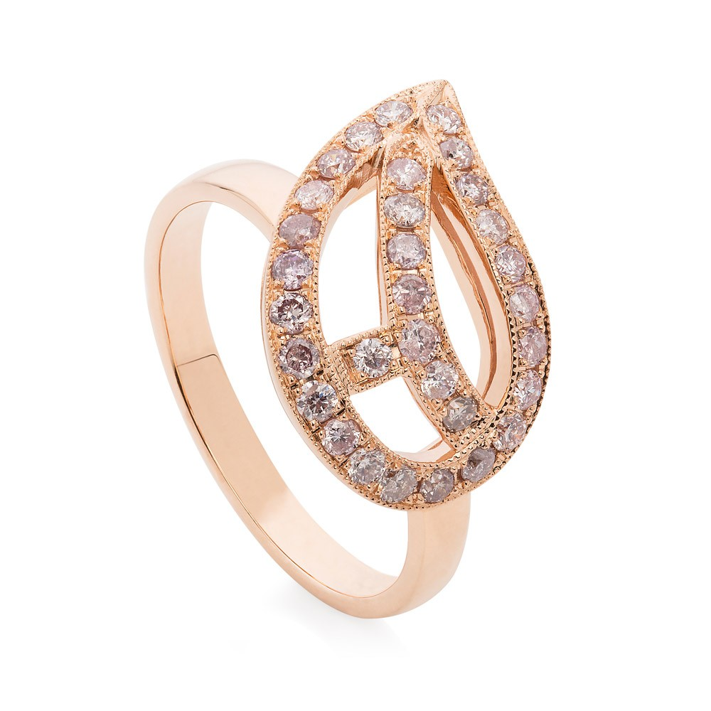 Diamond Leaf Ring – Pink Diamonds In 18k Rose Gold