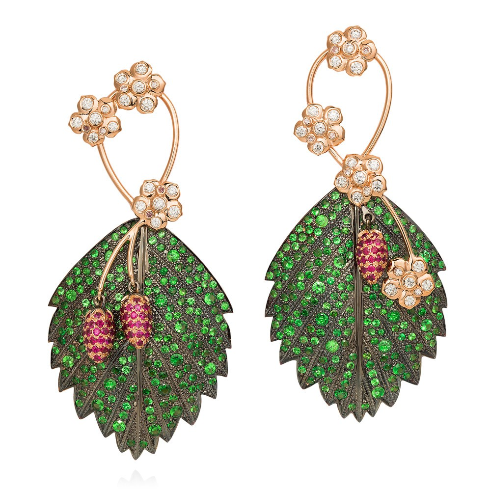 Wild Strawberry Earrings – Tsavorite Garnets, Rubies, Pink And White Diamonds 18k Rose Gold