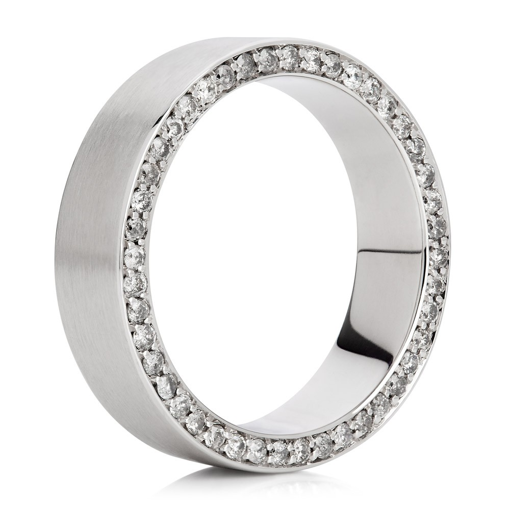Men's Wedding Band – Grey Diamonds 18k White Gold