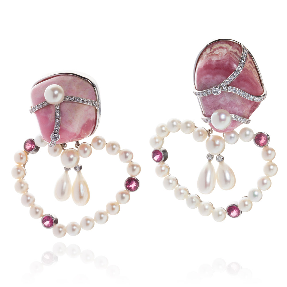 Earrings – Rhodochrosite, Pink Tourmalines, Diamonds And Pearls 18k White Gold