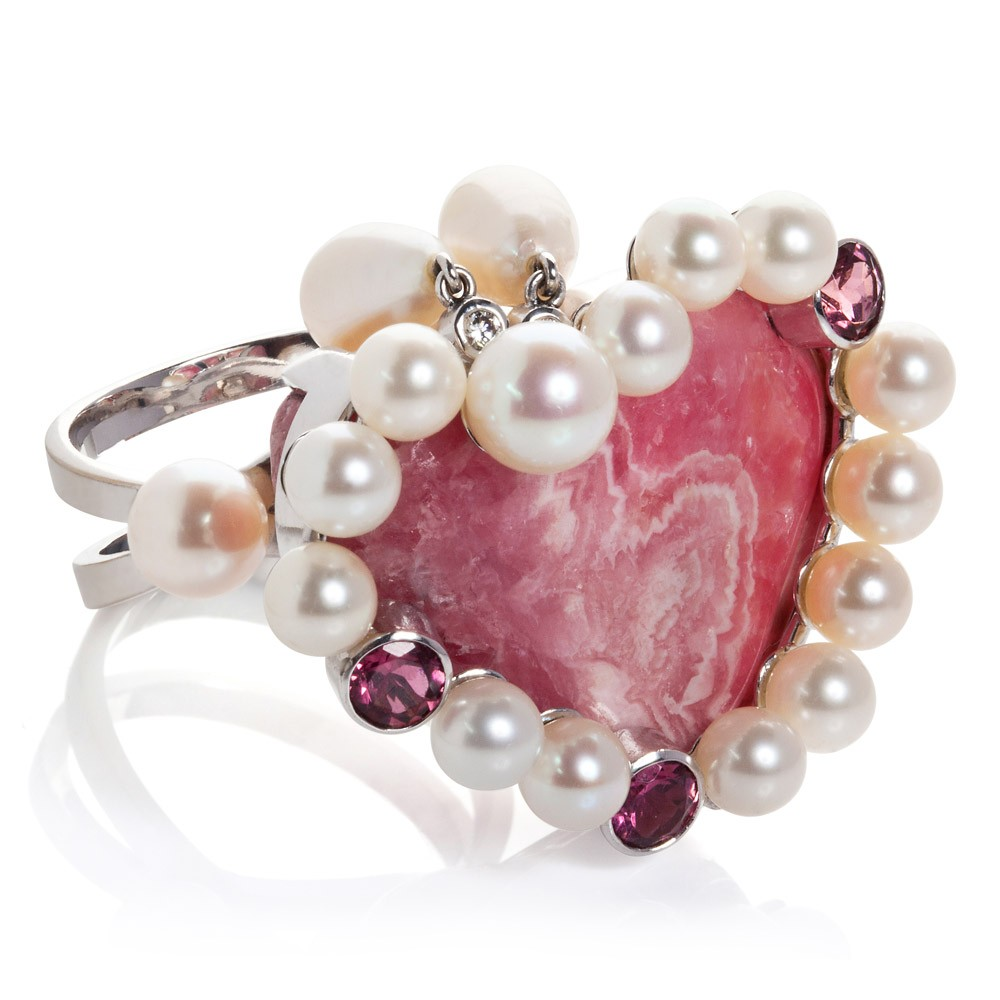 Ring – Rhodochrosite, Pink Tourmalines, Diamonds And Pearls 18k White Gold
