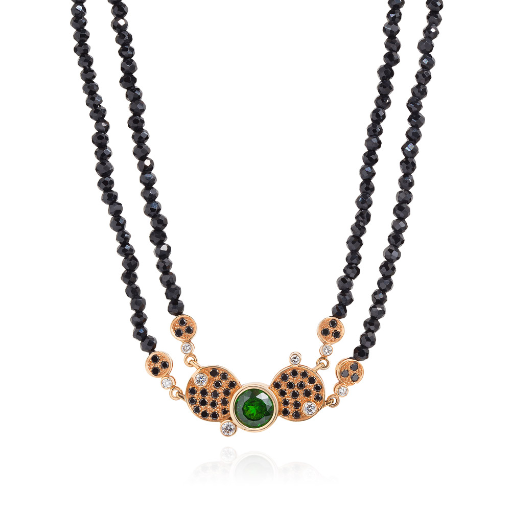 Necklace – Demantoid Garnet, Black And White Diamonds And Faceted Black Spinel Beads 18k Rose Gold