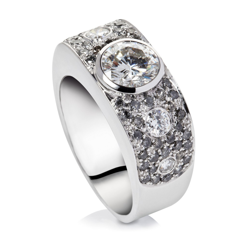 Diamond And Grey Diamond Ring 18k White Gold