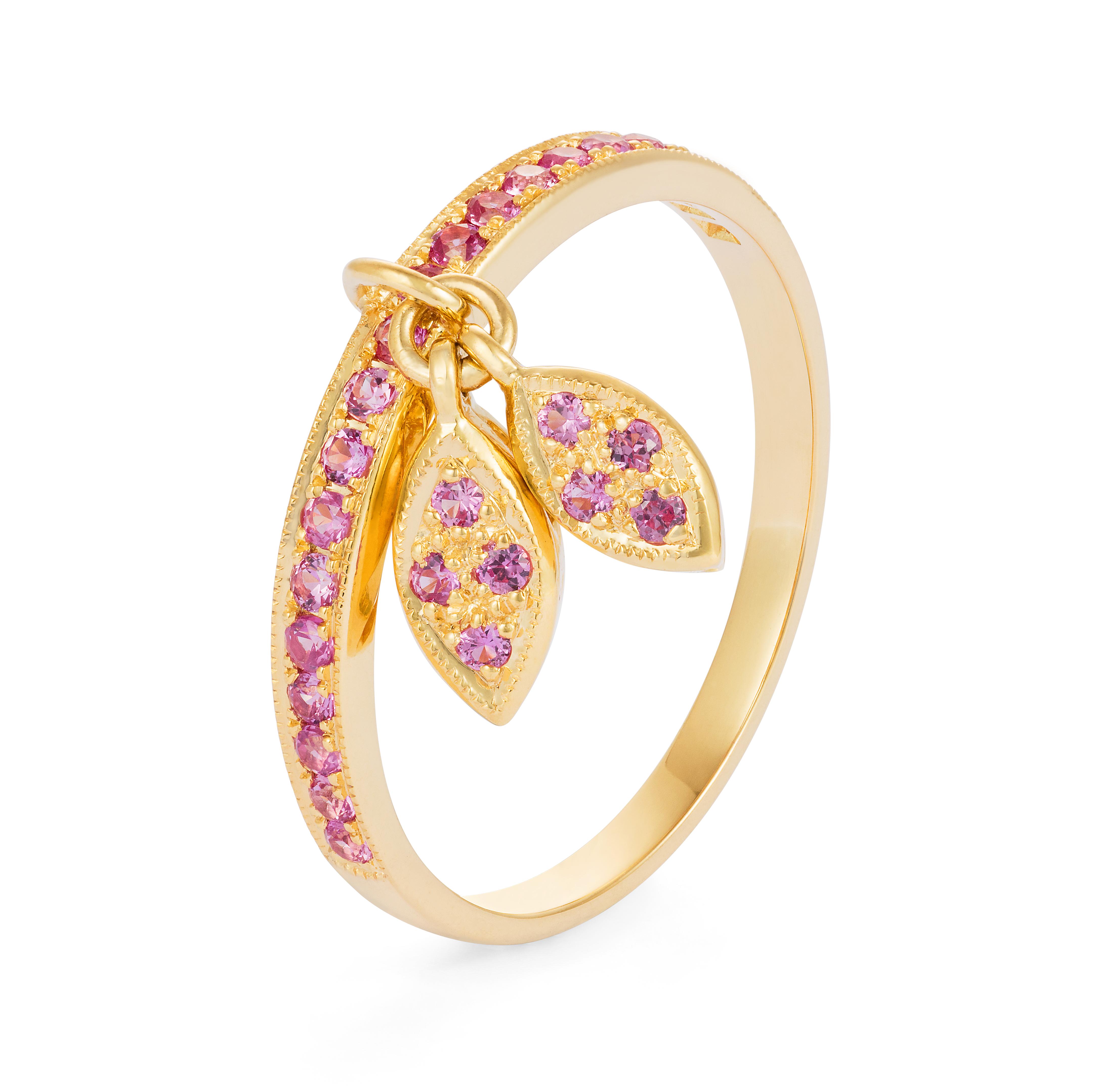 Diamond Leaf Ring – Pink Sapphires 18k Gold