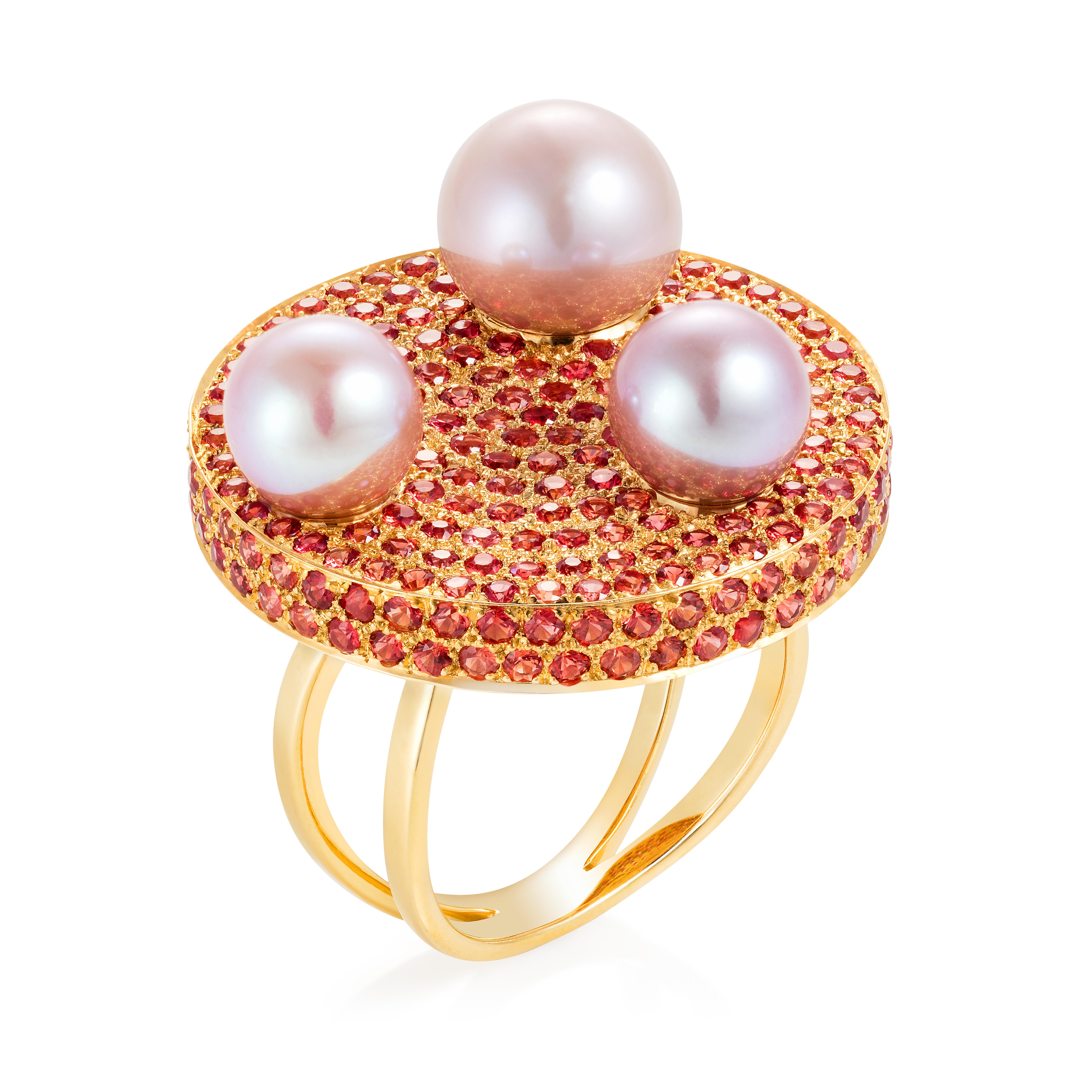 Saengduan Disc Ring – Orange Sapphires And Fancy Pearls 18k Gold