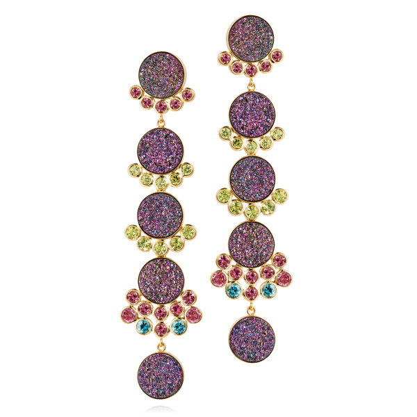 Donna Earrings – Treated Druzy, Pink Tourmalines, Peridots And Blue Zircon 18k Gold