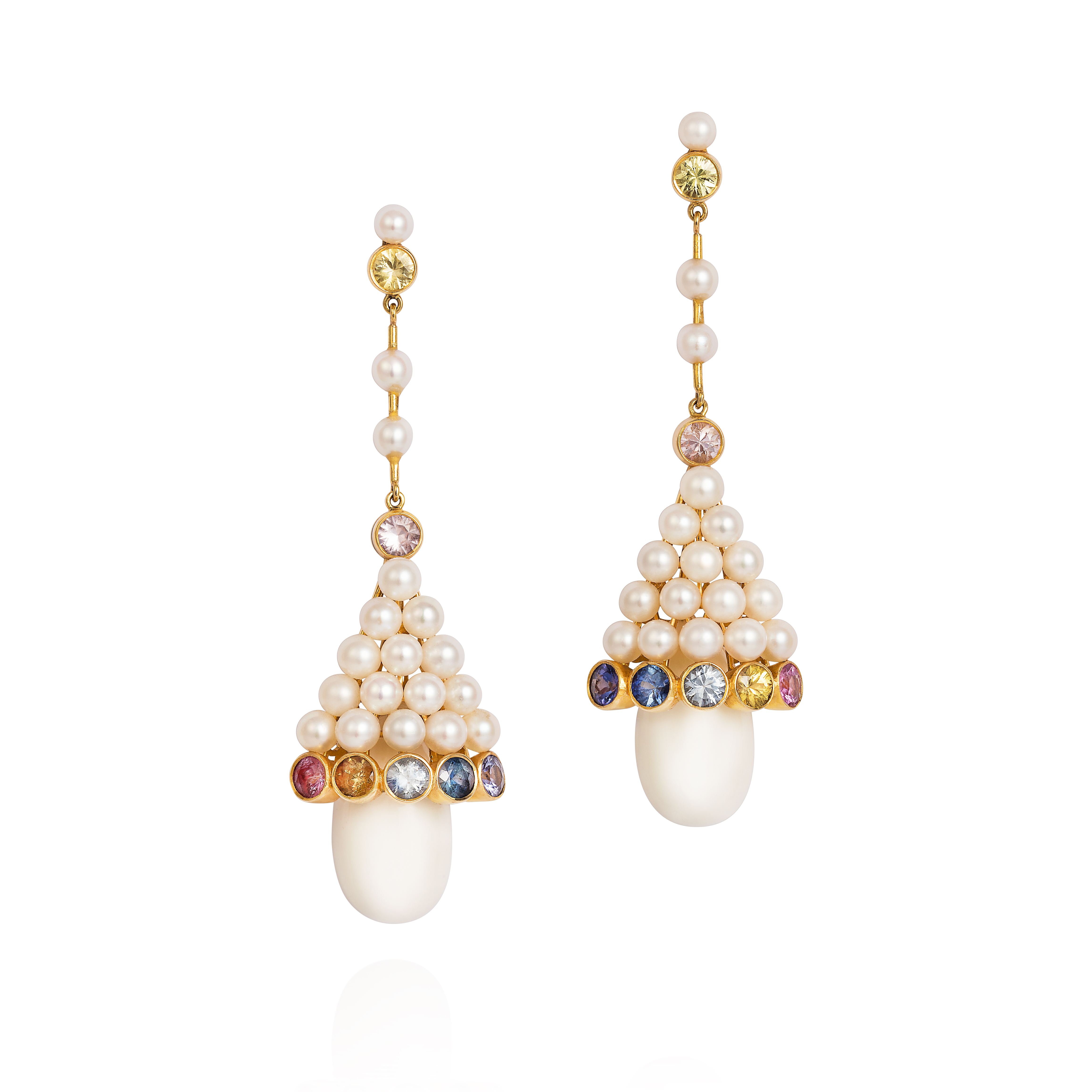 Earrings Set With Fancy Sapphires, Pearls And White Coral From The Taiwan Sea 18k Gold