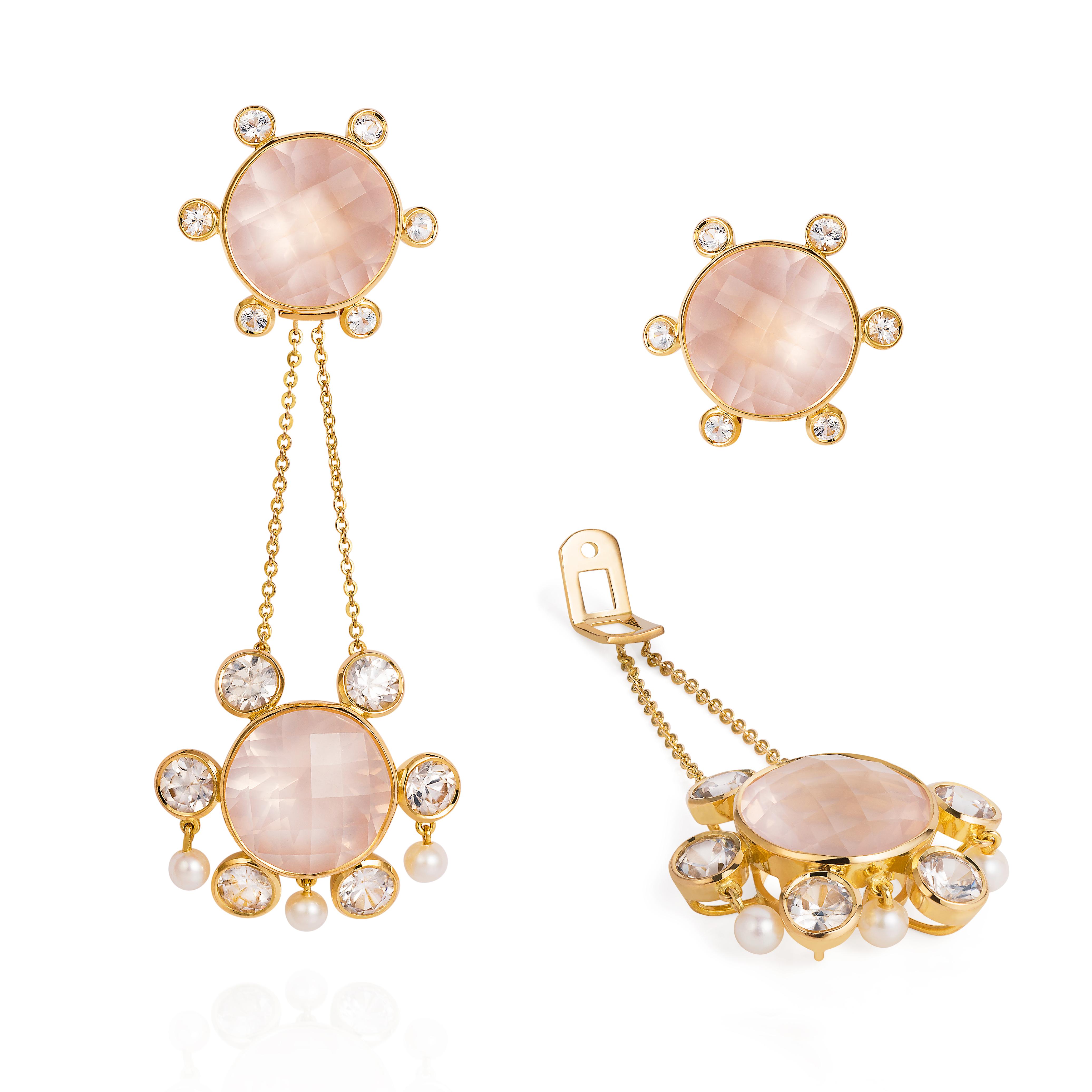 Lantern Earrings  – Rose-quartz, White Sapphires And Baby Pearls 18k Gold