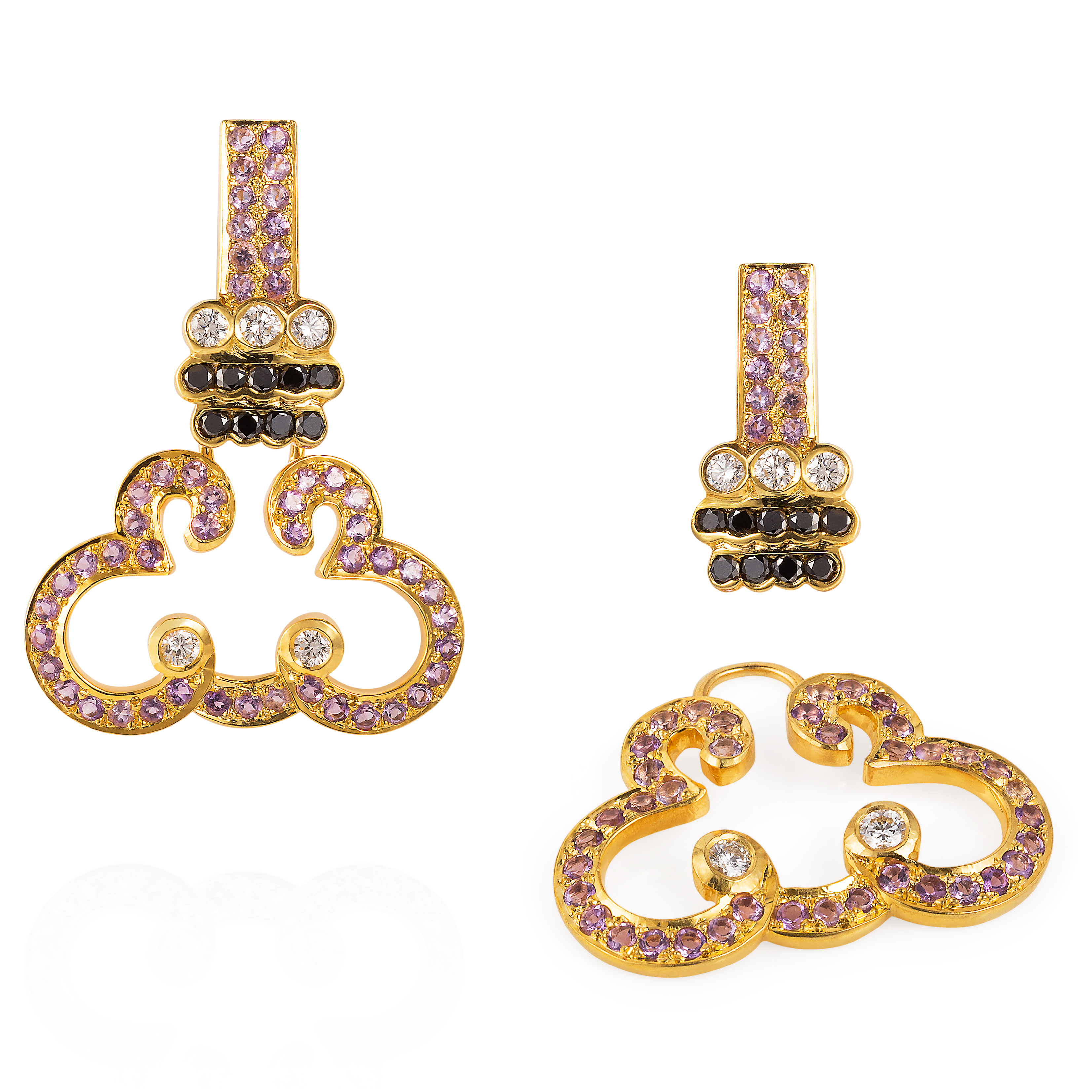 Lace Earrings – Amethyst, Black And White Diamonds 18k Gold