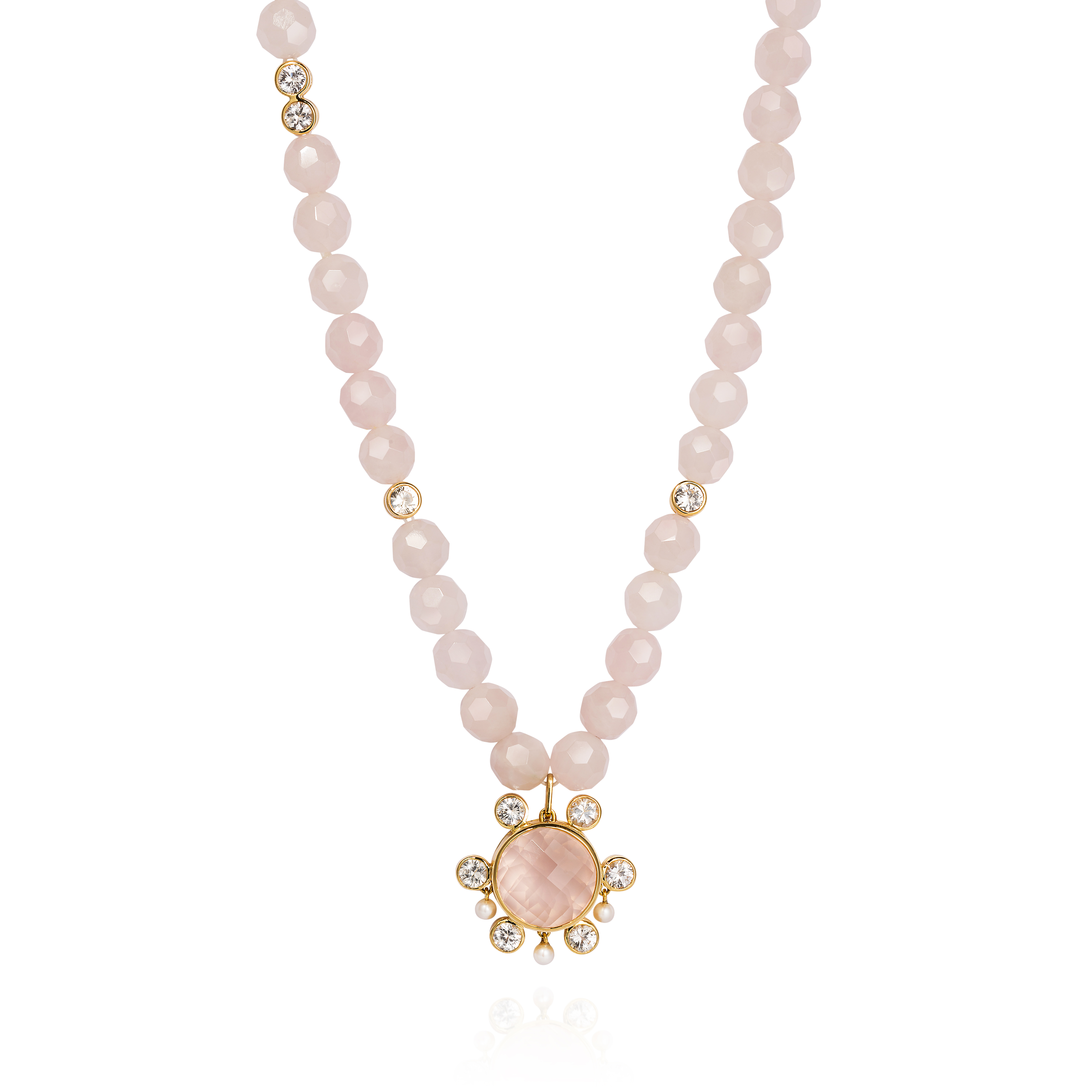 Lantern Necklace – White Sapphires, Rose Quartz And Baby Pearls 18k Gold