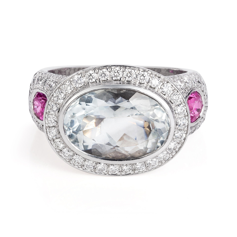 Goshenite,diamond And Pink Sapphire Ring 18k White Gold