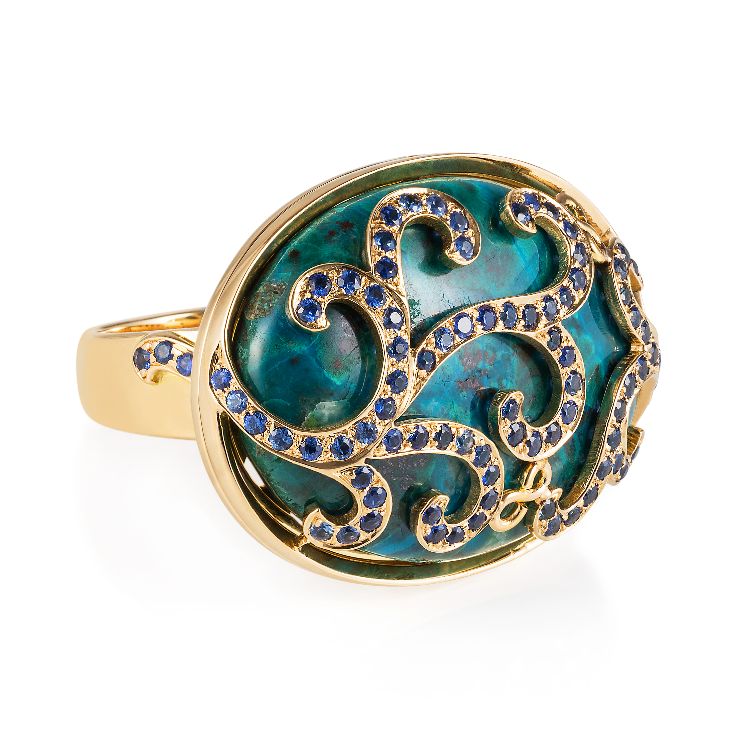 Lace Ring – Chyrsocolla And Sapphires In 18k Gold