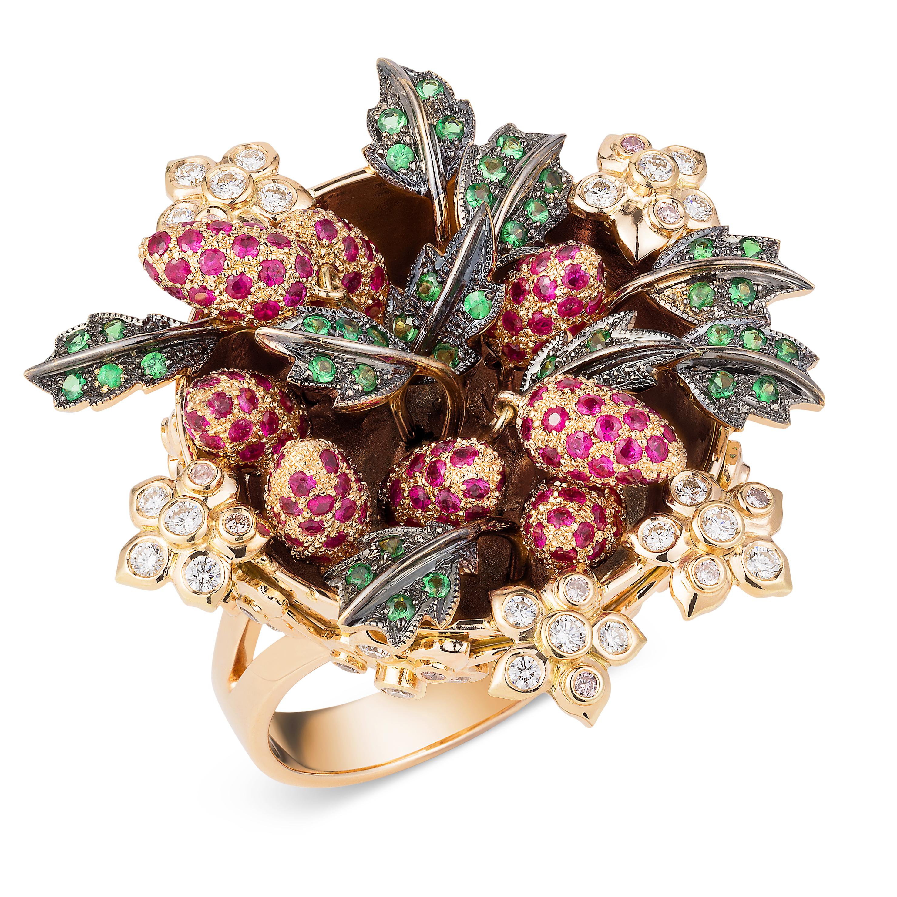 Wild Strawberry Ring – Tsavorite Garnets, Rubies, Pink And White Diamonds 18k-rose-gold