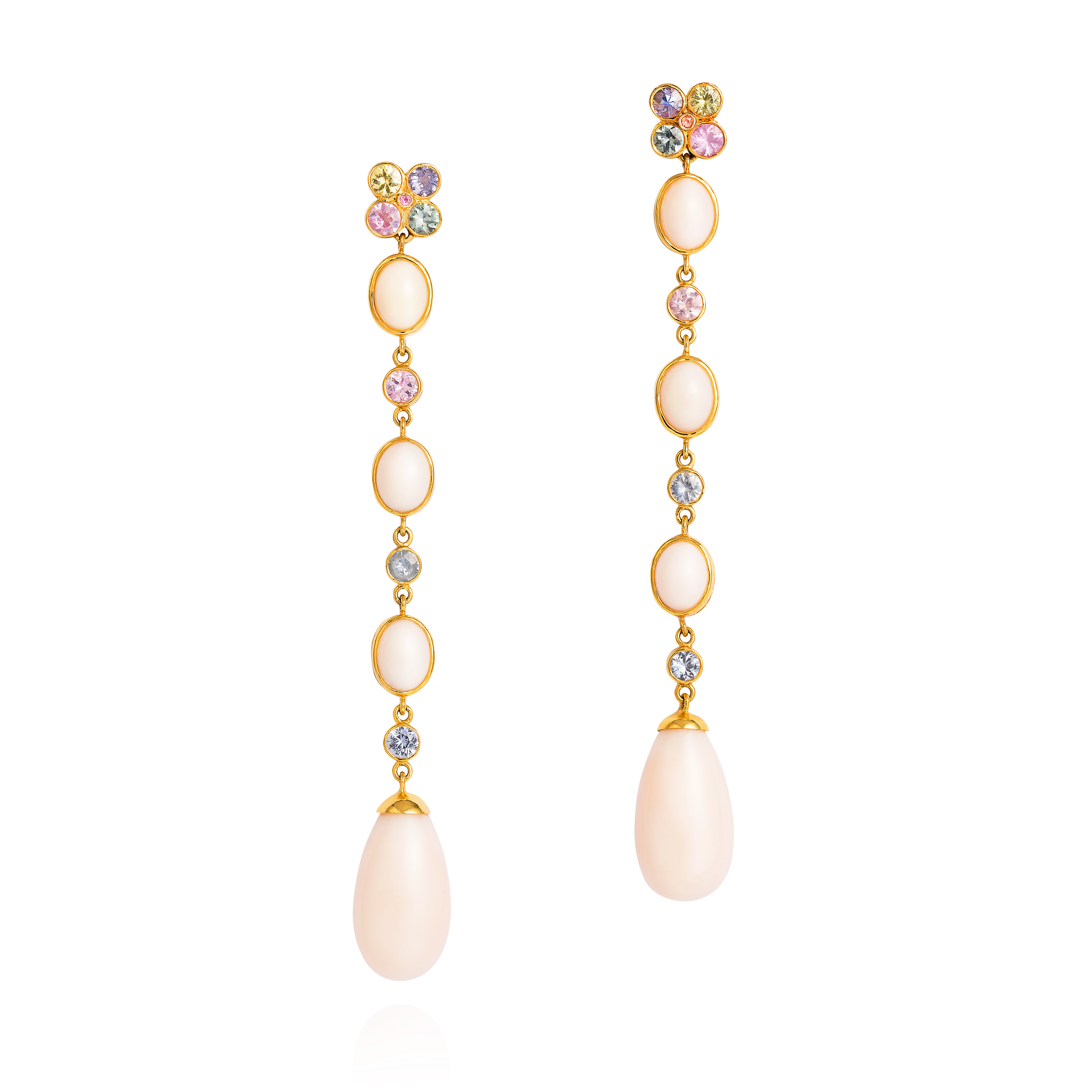 Wish Earrings – Fancy Sapphires And Pale Pink Coral From The Taiwan Sea In 18k Gold
