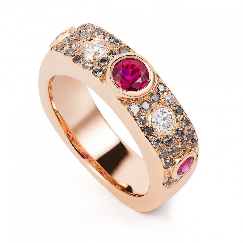 Burmese Ruby, Grey And White Diamond Ring 18k Rose Gold