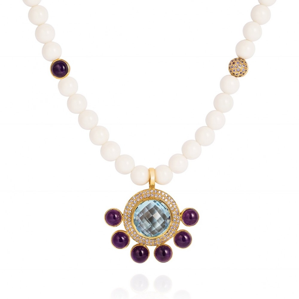 White Agate Necklace Set With Blue Topaz, Tanzanite And Amethysts 18k Gold