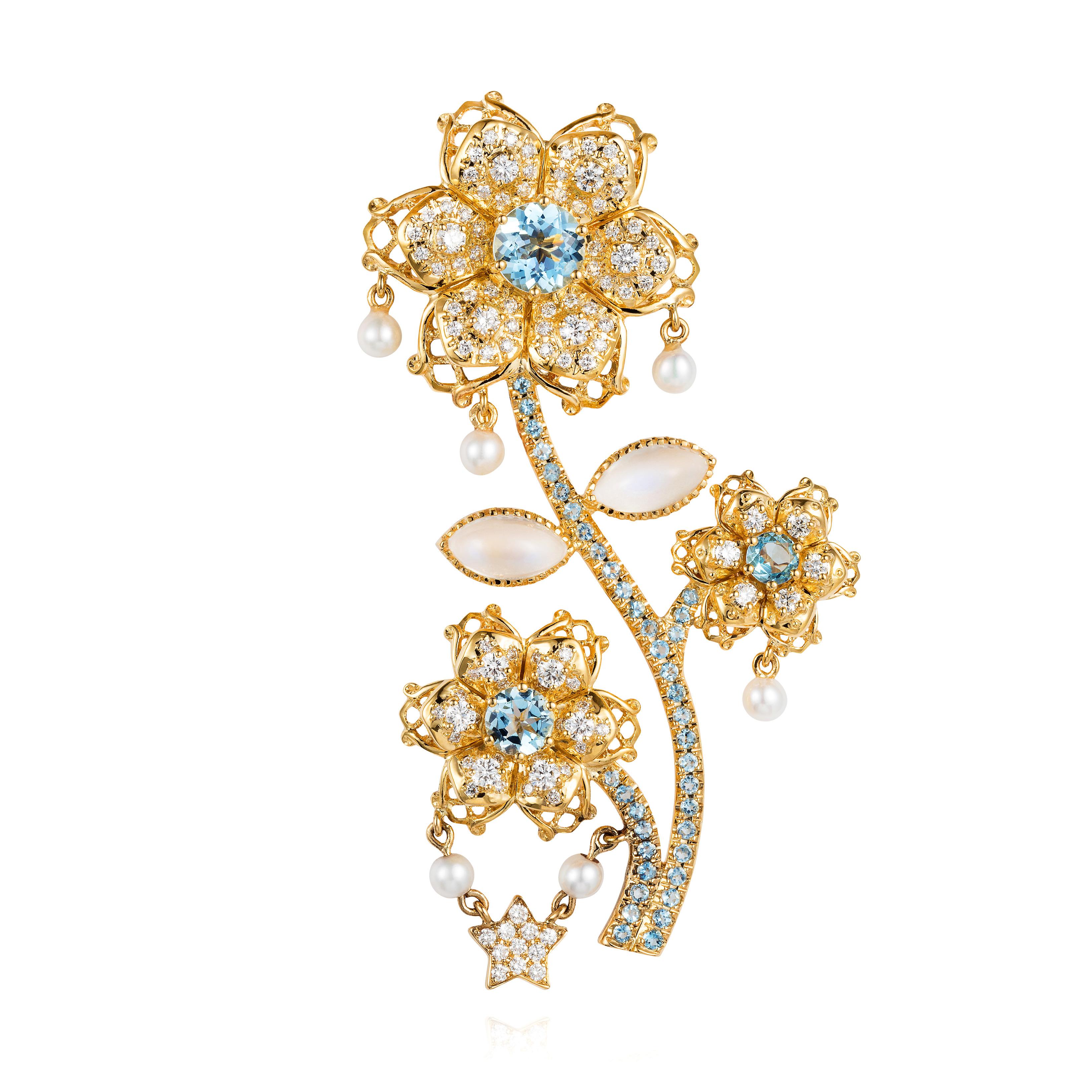 Aquamarine, Moonstone, Diamond And Baby Pearl Brooch 18k Gold