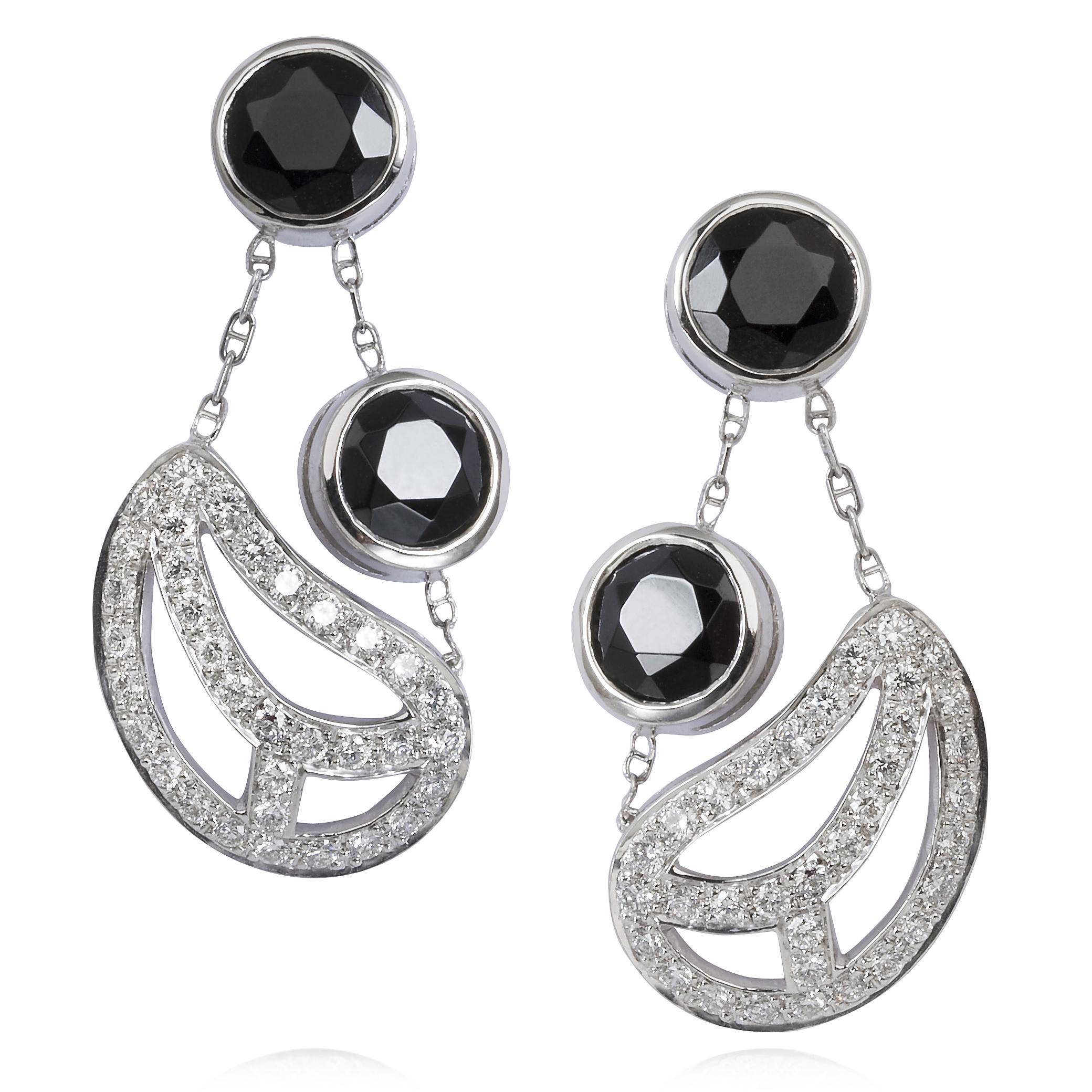 Diamond Leaf Earrings – Black Spinel And Diamonds In 18k White Gold