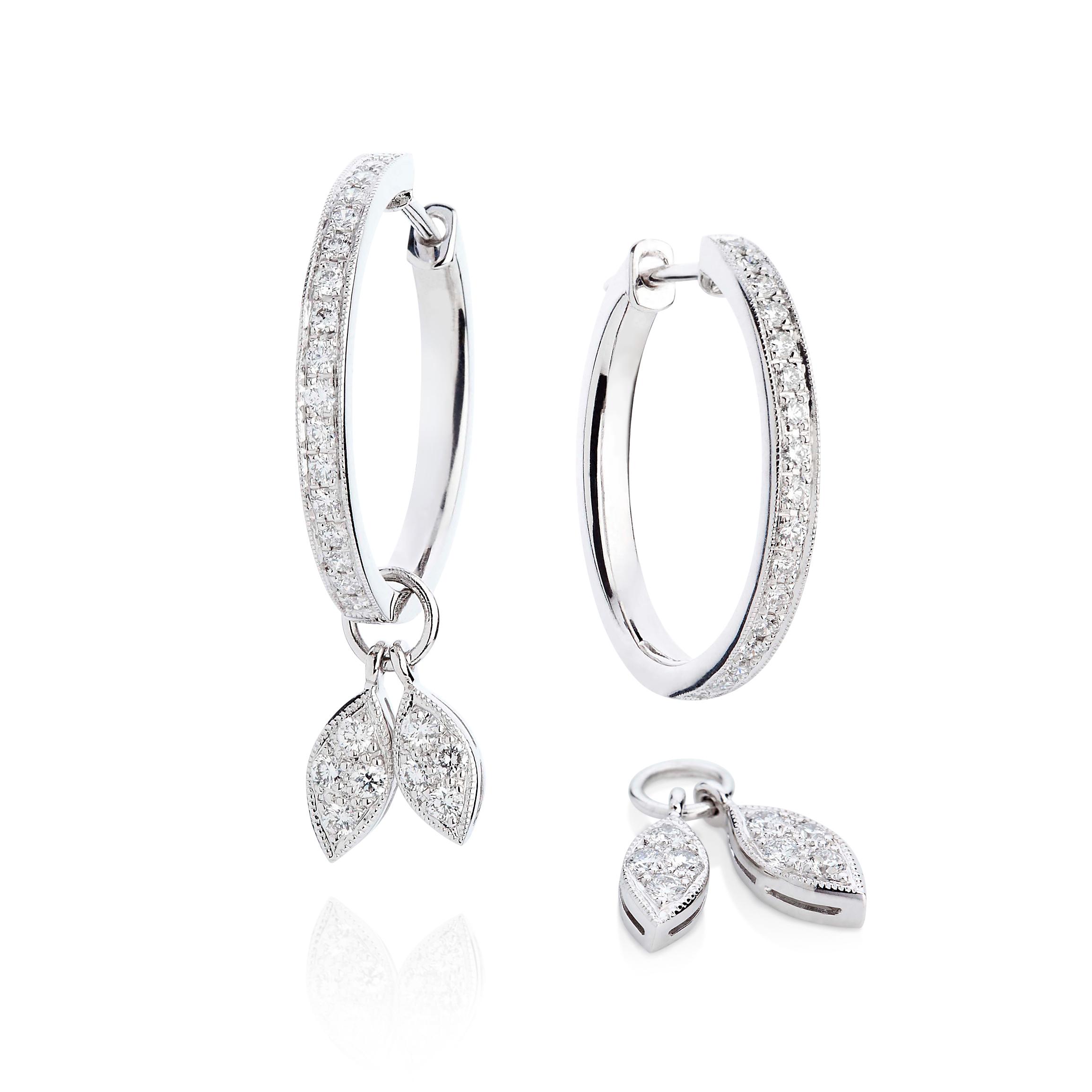 Diamond Leaf Earrings – Diamonds In 18k White Gold