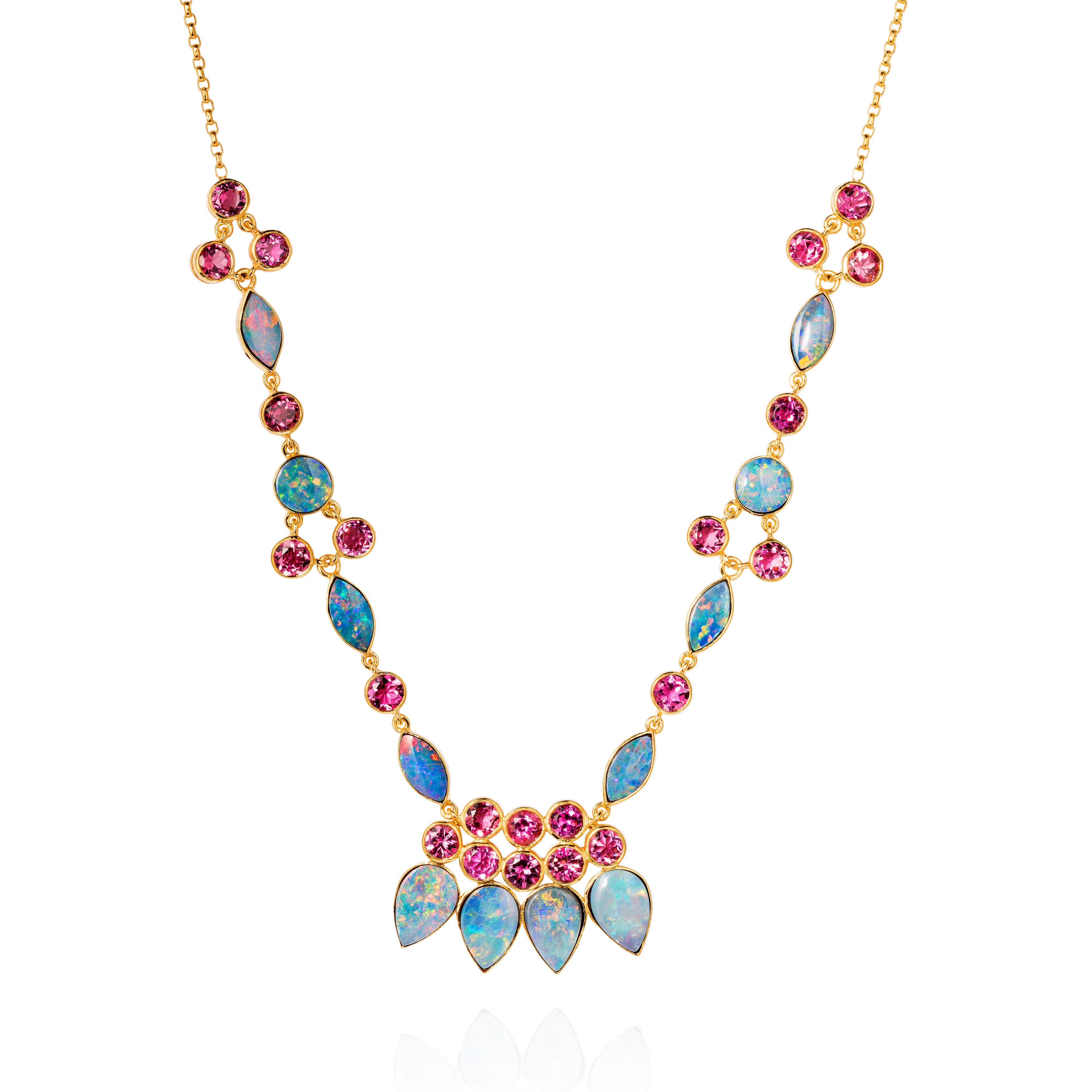 Eastern Star Necklace – Australian Opals And Pink Tourmalines In 18k Gold