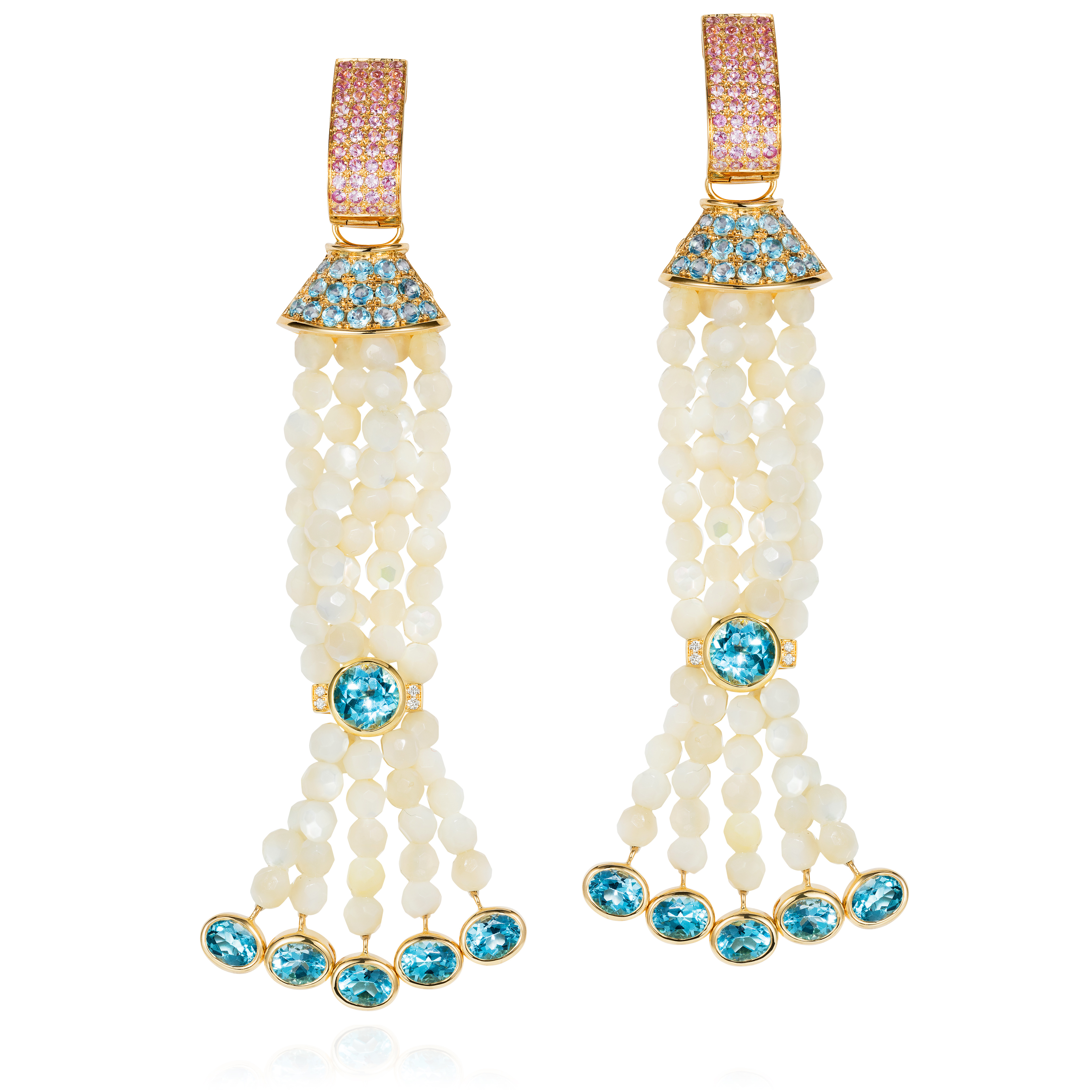 Blue Topaz, Diamond And Pink Sapphire Earrings In 18k Gold With Faceted Mother-of-pearl Beads