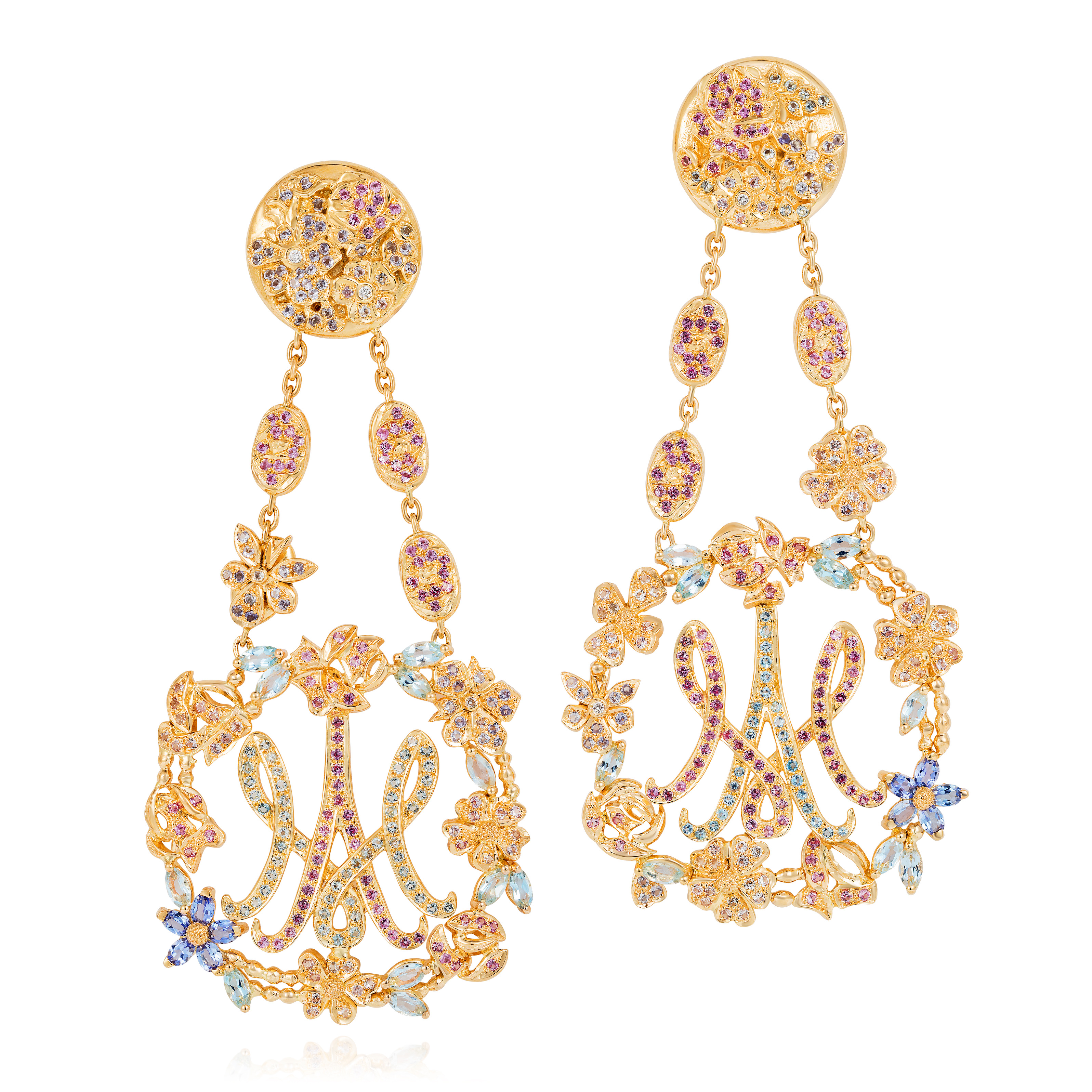 Antoinette Earrings Inspired By The Gardens Of Marie Antoinette At Grand Trianon, Versailles And Celebrating The Flowers She Most Loved: Cabbage Roses In Dark Pink Sapphires, Dog Roses In Pale Pink Sapphires And Violets In Tanzanite With Accents In Aquamarine And Diamond 18k Gold