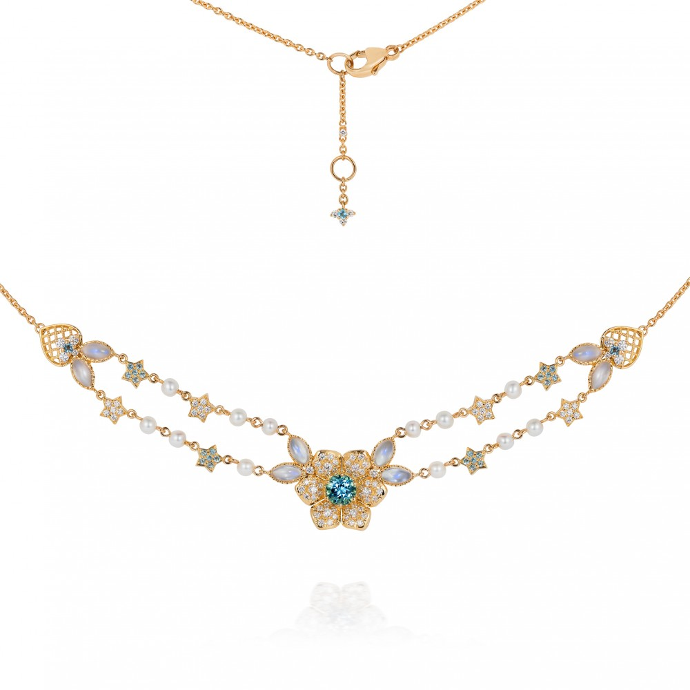 Aquamarine, Diamond, Moonstone And Baby Pearl Necklace 18k Gold