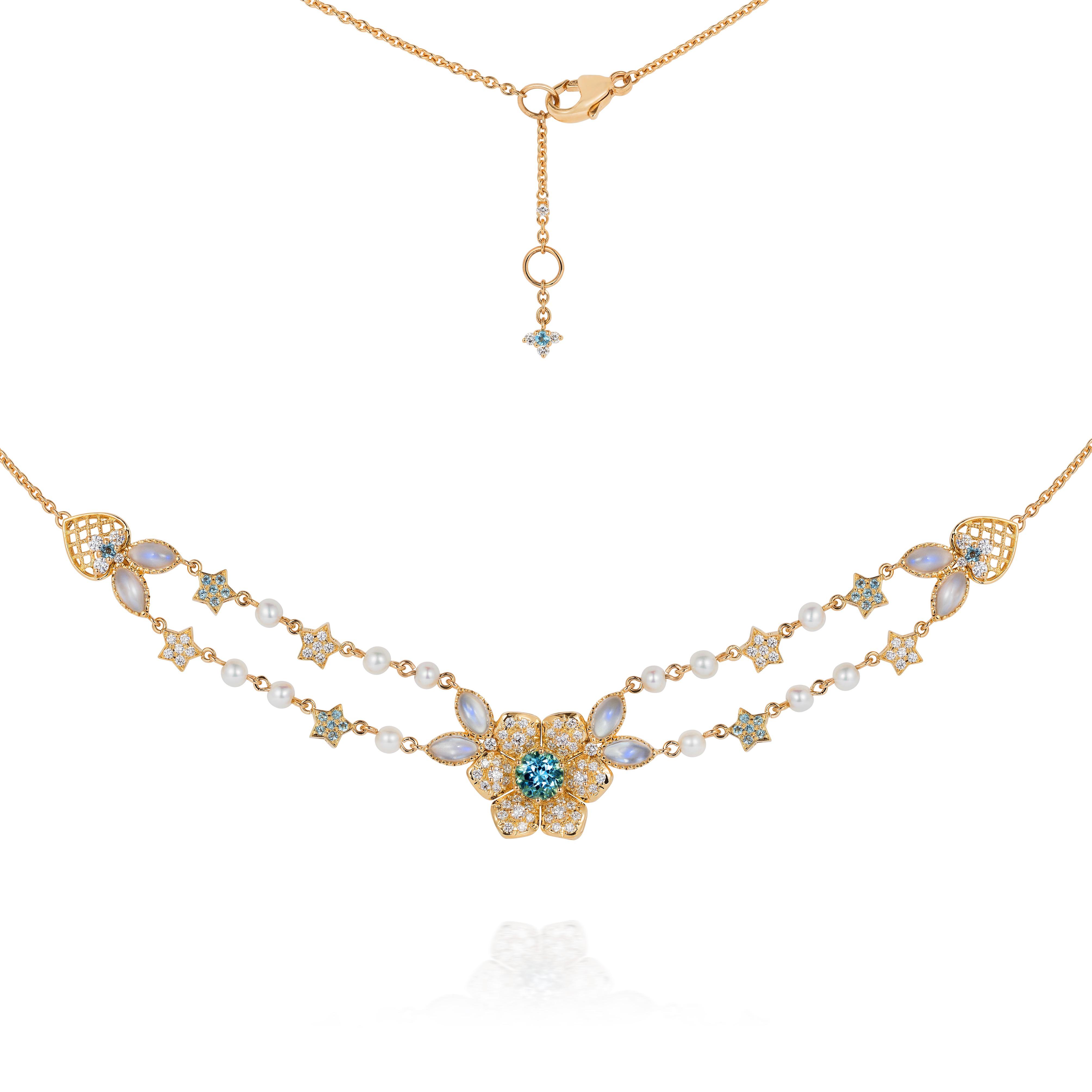 Aquamarine, Diamond, Moonstone And Baby Pearl Necklace 18k Gold