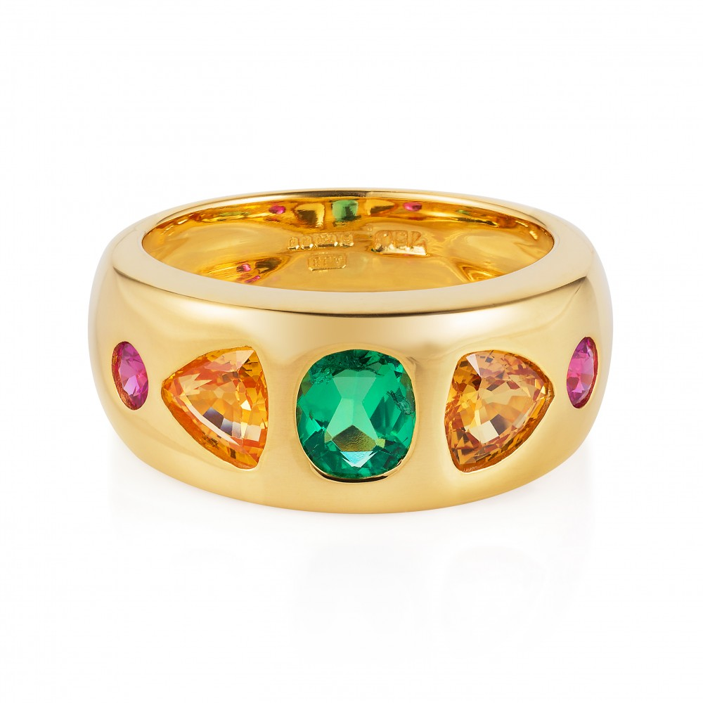 Happy Ring – Muzo Emerald, Yellow And Hot Pink Sapphires In 18k Gold