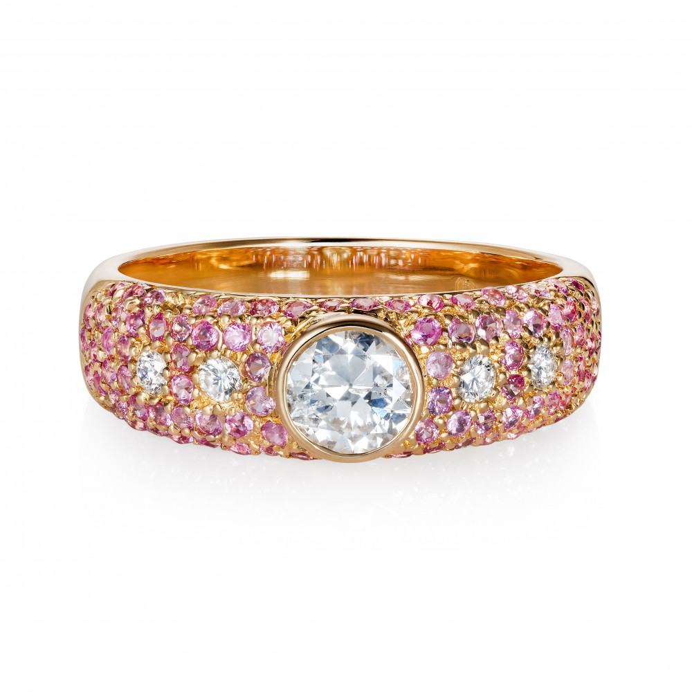 Bespoke Bridal – Diamond And Pink Sapphire 18k Gold Ring