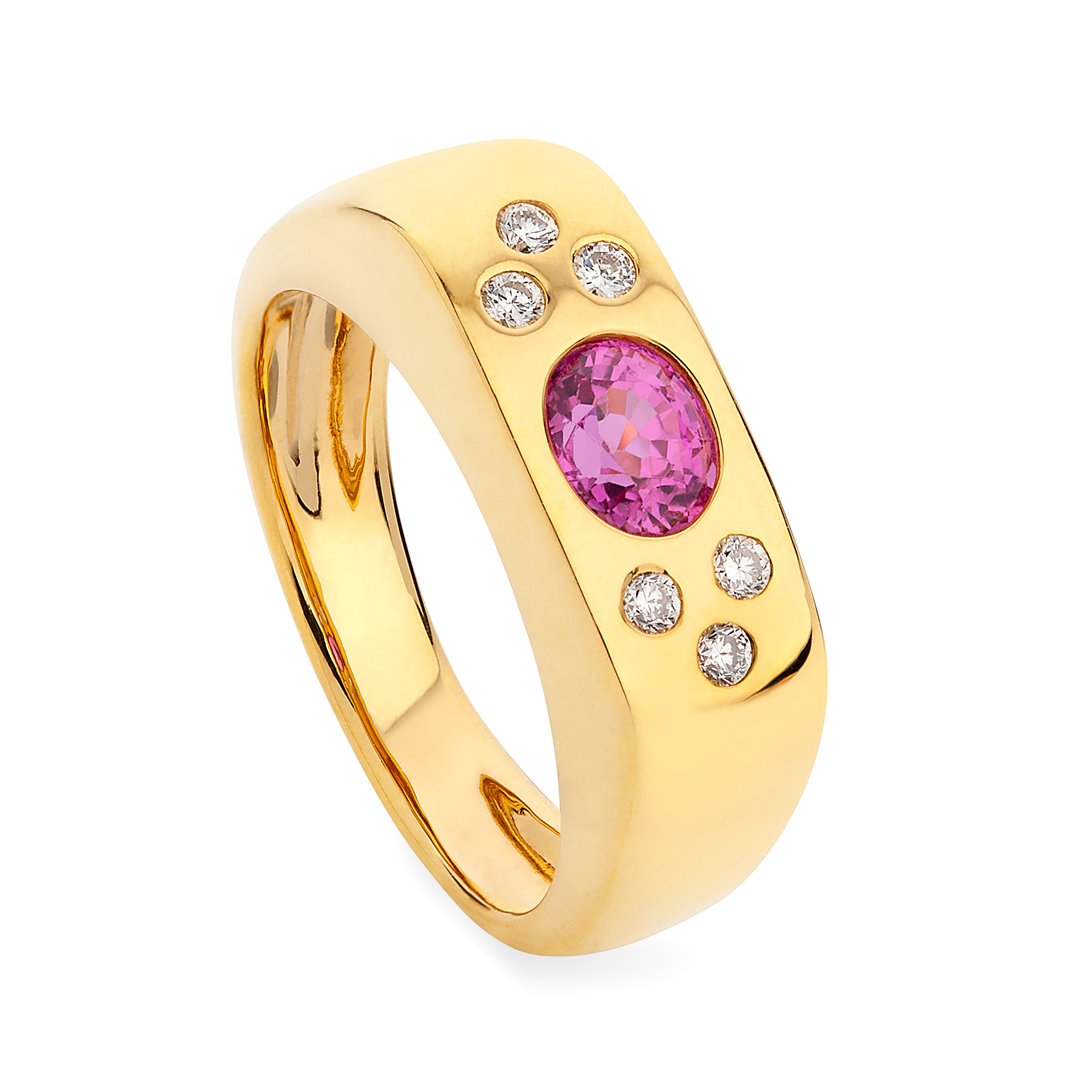 Happy Ring – Vibrant Pink Sapphire And Diamonds In 18k Gold