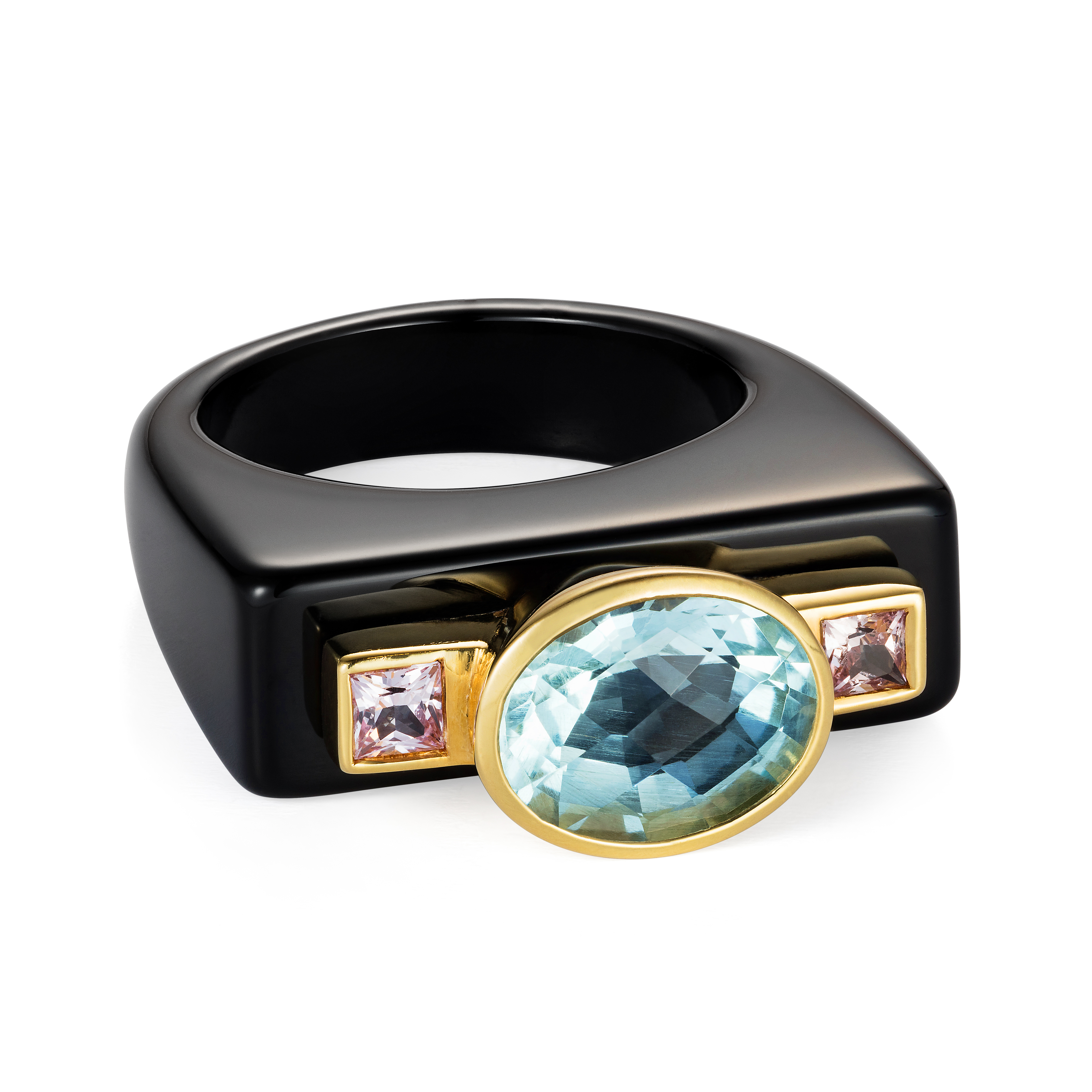 Dolce Vita Onyx Ring – Aquamarine And Princess Cut Pink Sapphires 18k Gold