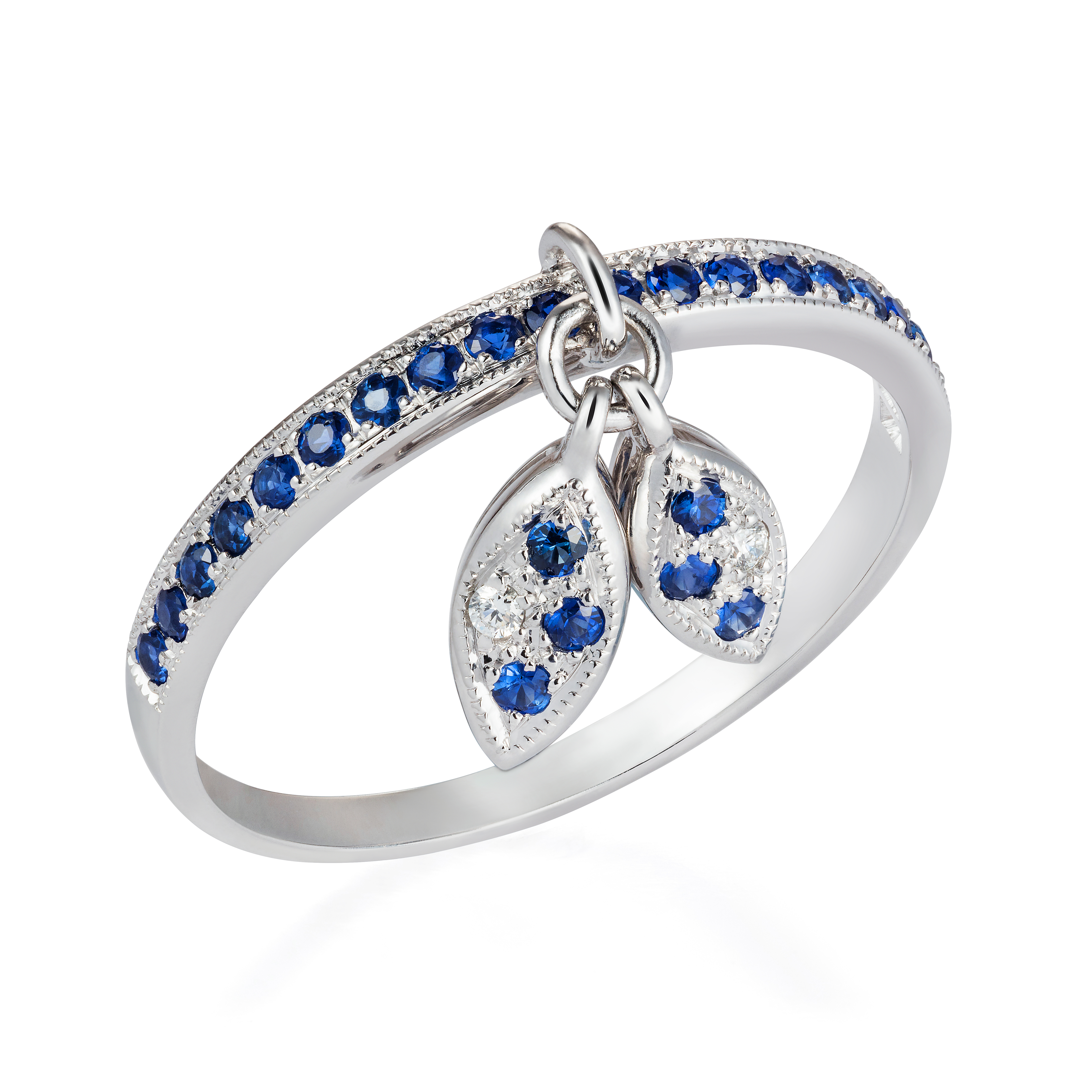 Diamond Leaf Ring – Sapphires And Diamonds In 18k White Gold