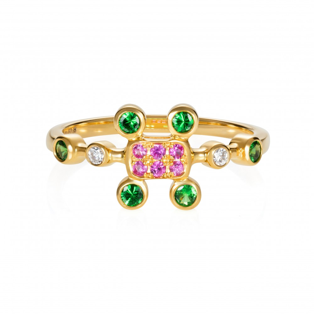 Princess Of The Woods Ring Set With Hot Pink Sapphires, Tsavorite Garnets And Diamonds In 18k Gold