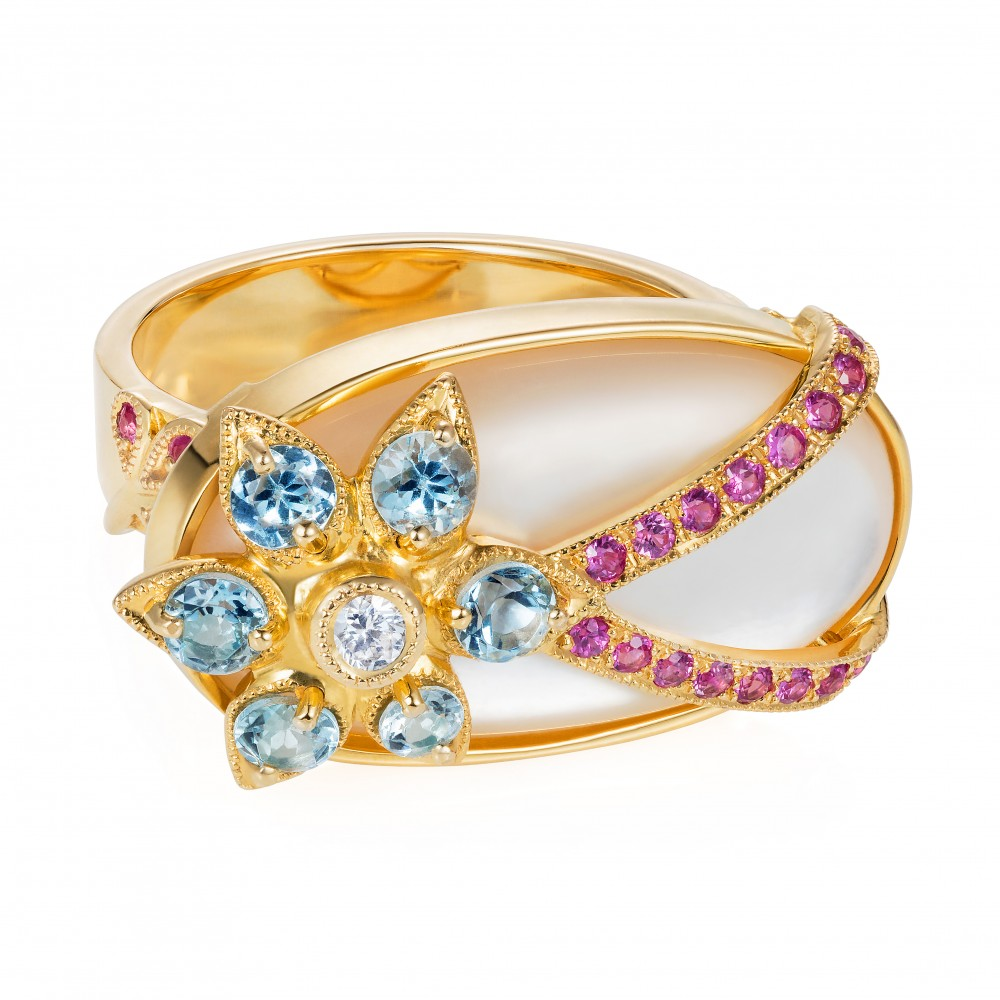 Shimmer Ring, Long Oval – Aquamarines, Hot Pink Sapphires And Diamonds Over A Mother-of-pearl Cabochon 18k Gold