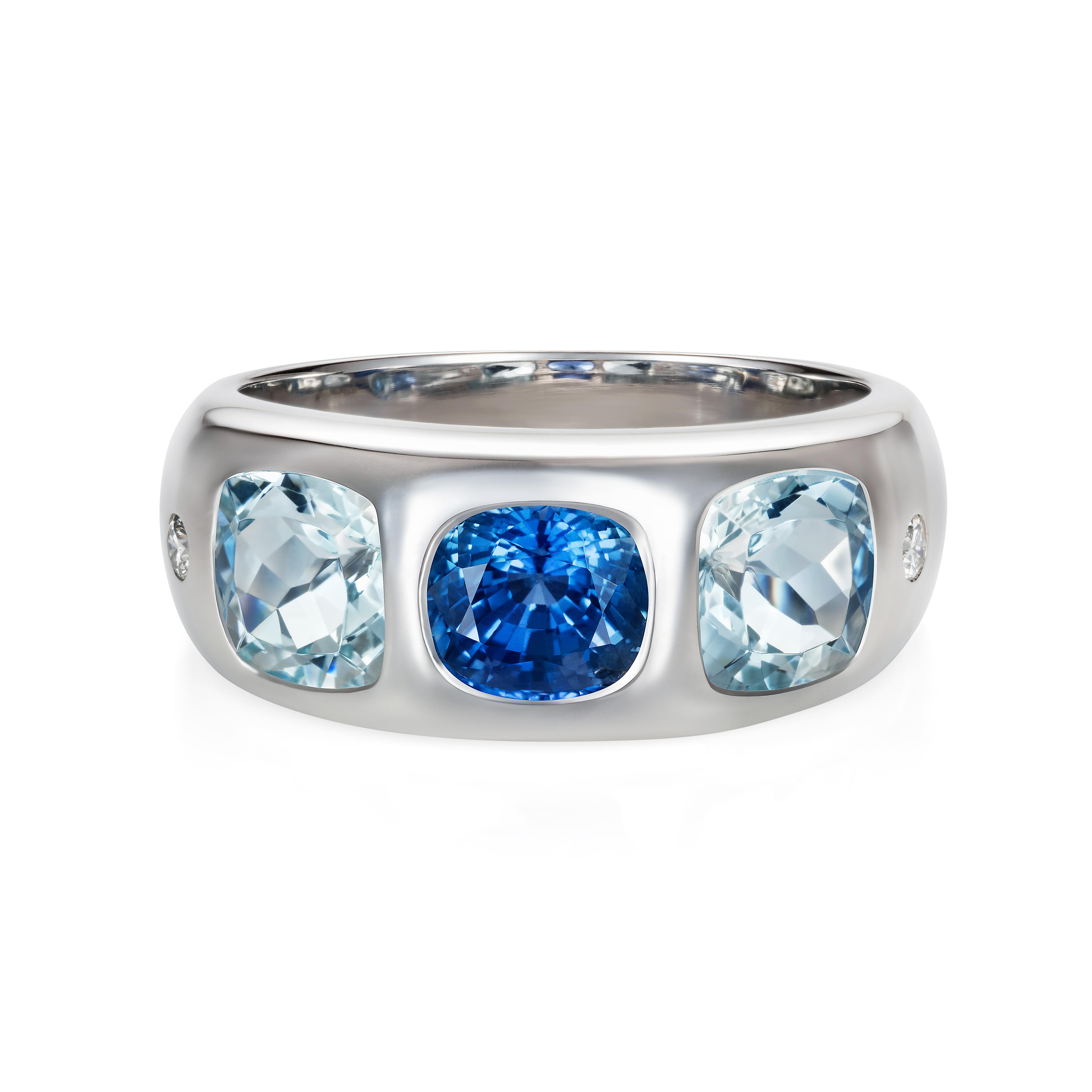 Sapphire, Aquamarine And Diamond Ring 18k White Gold